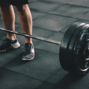 Deadlift strength training with barbell